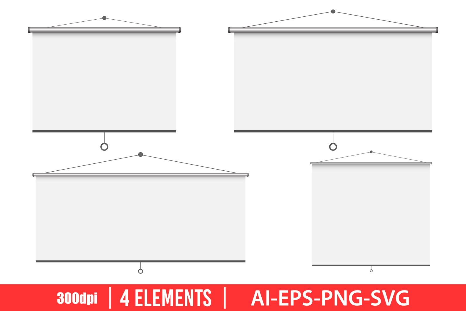Empty projection screen clipart vector design illustration. Vector Clipart Print - EMPTY PROJECTION SCREEN scaled -