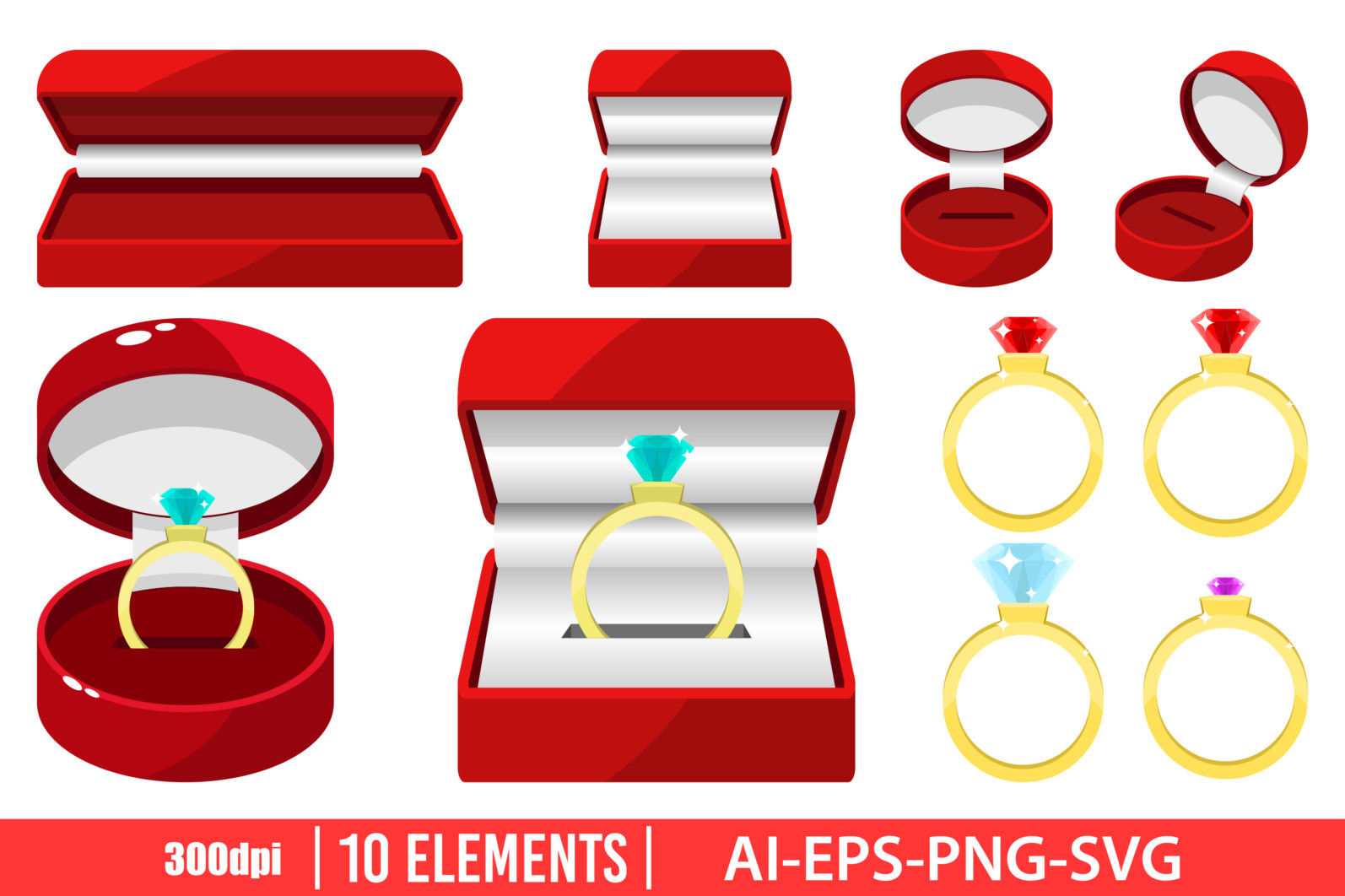 Engagement ring clipart vector design illustration. Engagement ring set. Vector Clipart Print - ENGAGEMENT RING1 scaled -