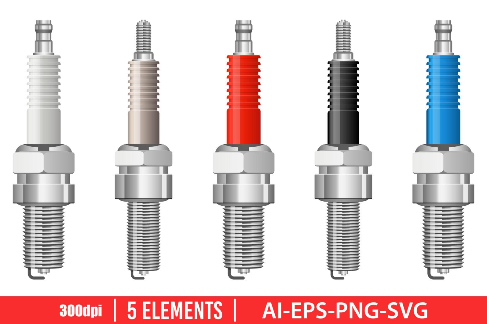 Spark plug clipart vector design illustration. Plug set. Vector Clipart Print - ENGINE PLUG scaled -