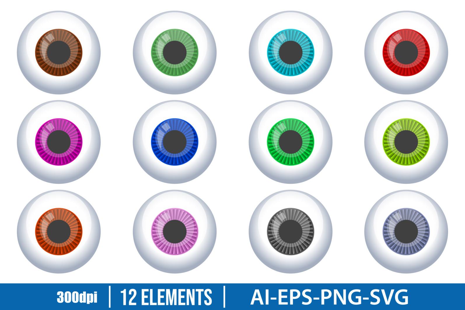 Eyeball clipart vector design illustration. Eyeball set. Vector Clipart Print - EYEBALL scaled -