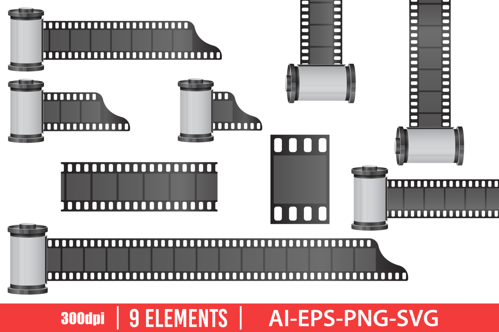 Camera film roll clipart vector design illustration. Camera film roll set. Vector Clipart Print - FILM ROLL scaled -