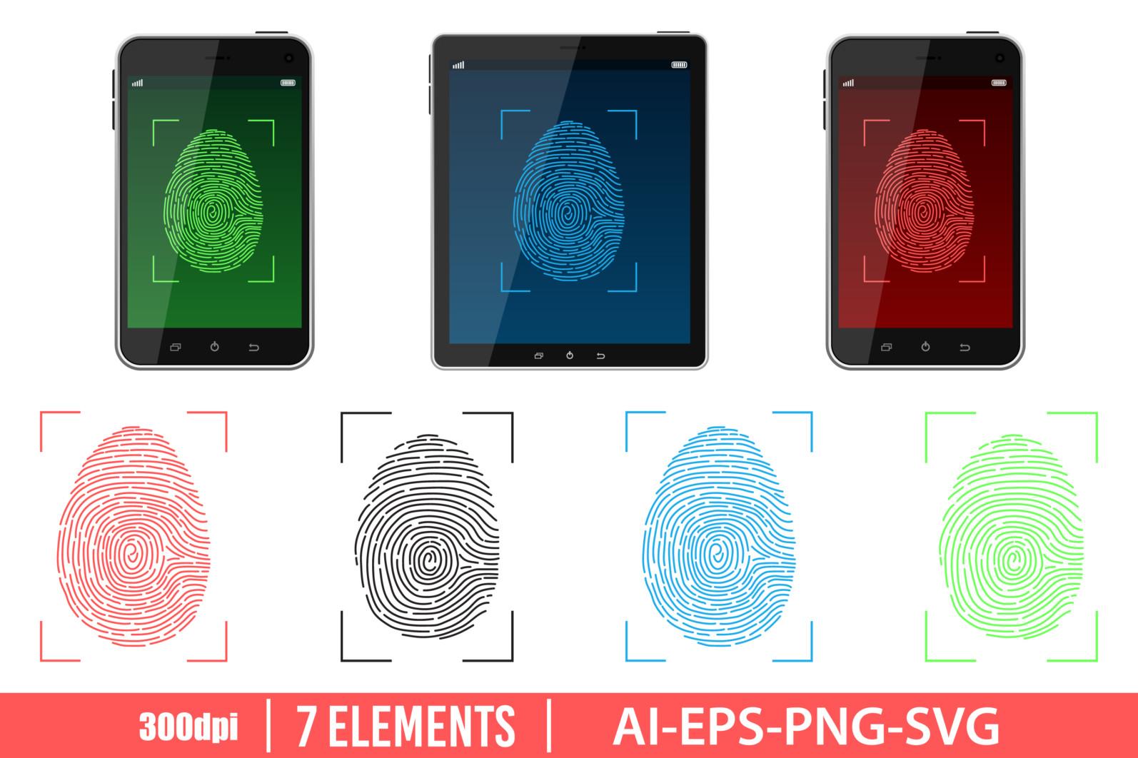 Unlock fingerprint scan clipart. Fingerprint set. Vector Clipart Print - FINGERPRINT scaled -
