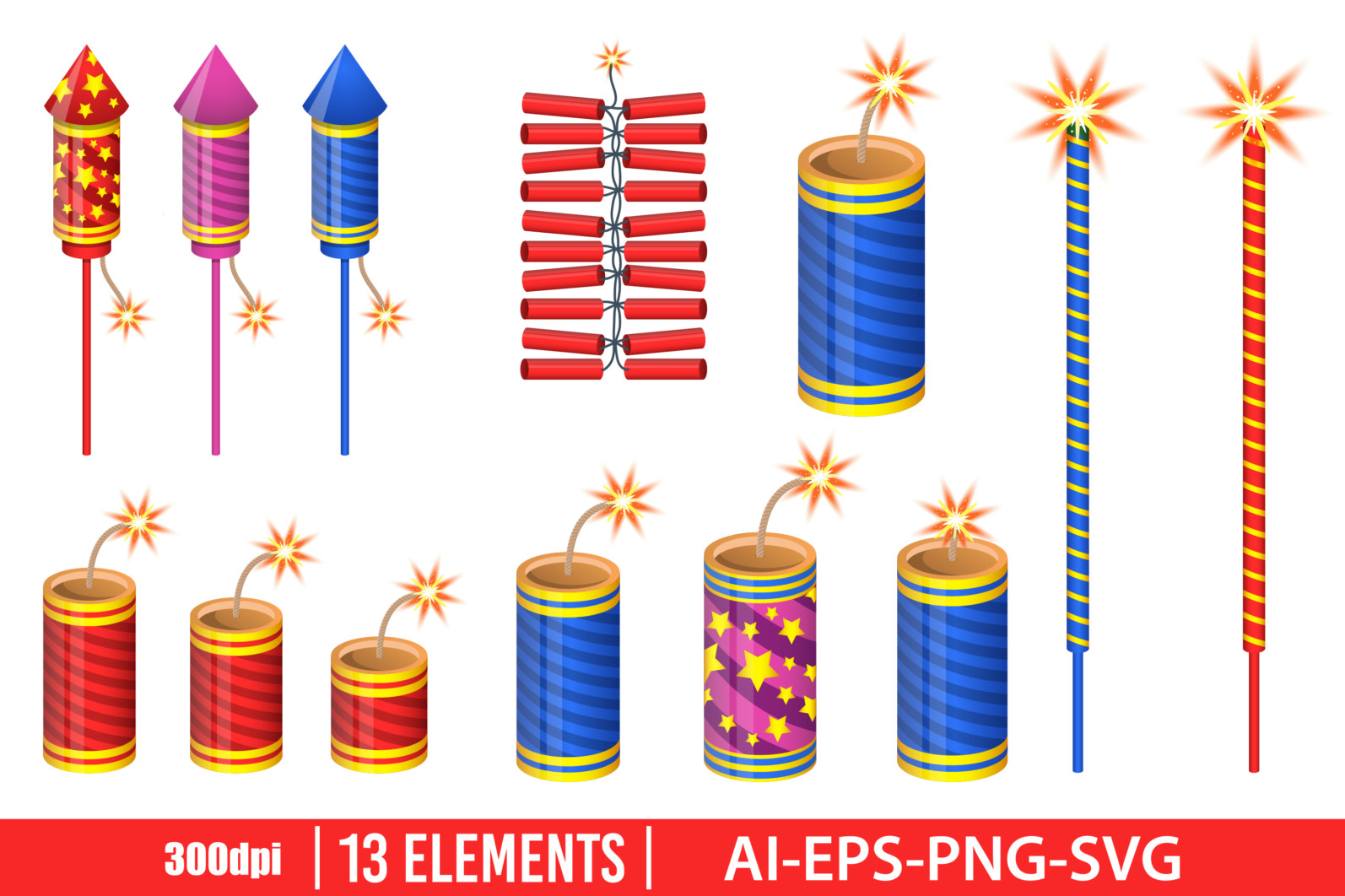 Firecrackers clipart vector design illustration. Firecrackers set. Vector Clipart Print - FIRE CRACKERS scaled -