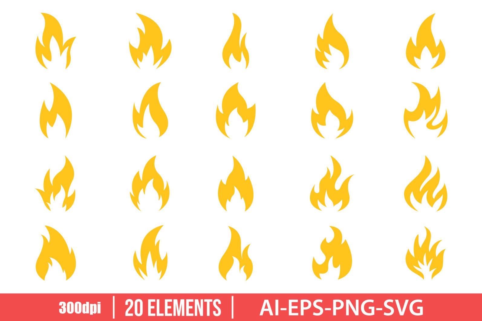 Fire icon clipart vector design illustration. Fire icon set. Vector Clipart Print - FIRE ICON scaled -