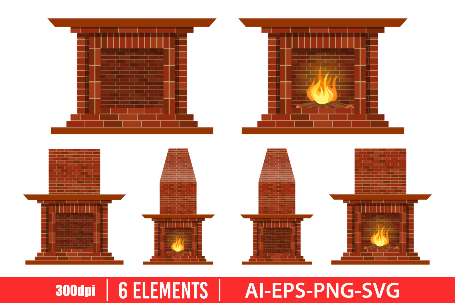 Vintage brick fireplace clipart vector design illustration. Fireplace set. Vector Clipart Print - FIREPLACE scaled -