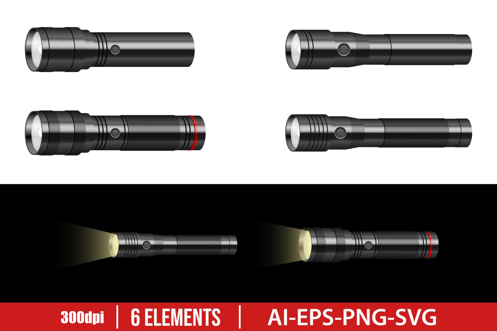 Flashlight clipart vector design illustration. Flashlight set. Vector Clipart Print - FLASHLIGHT scaled -