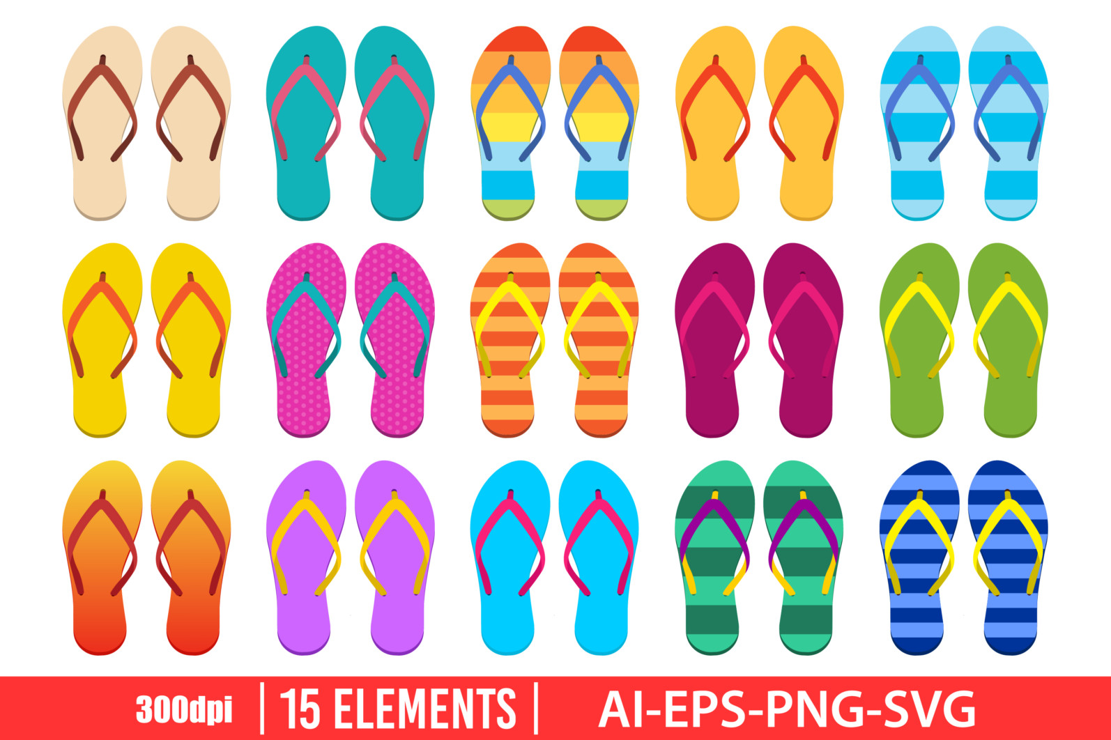 Flip flops clipart vector design illustration. Flip flops set. Vector Clipart Print - FLIP FLOPS 2 scaled -