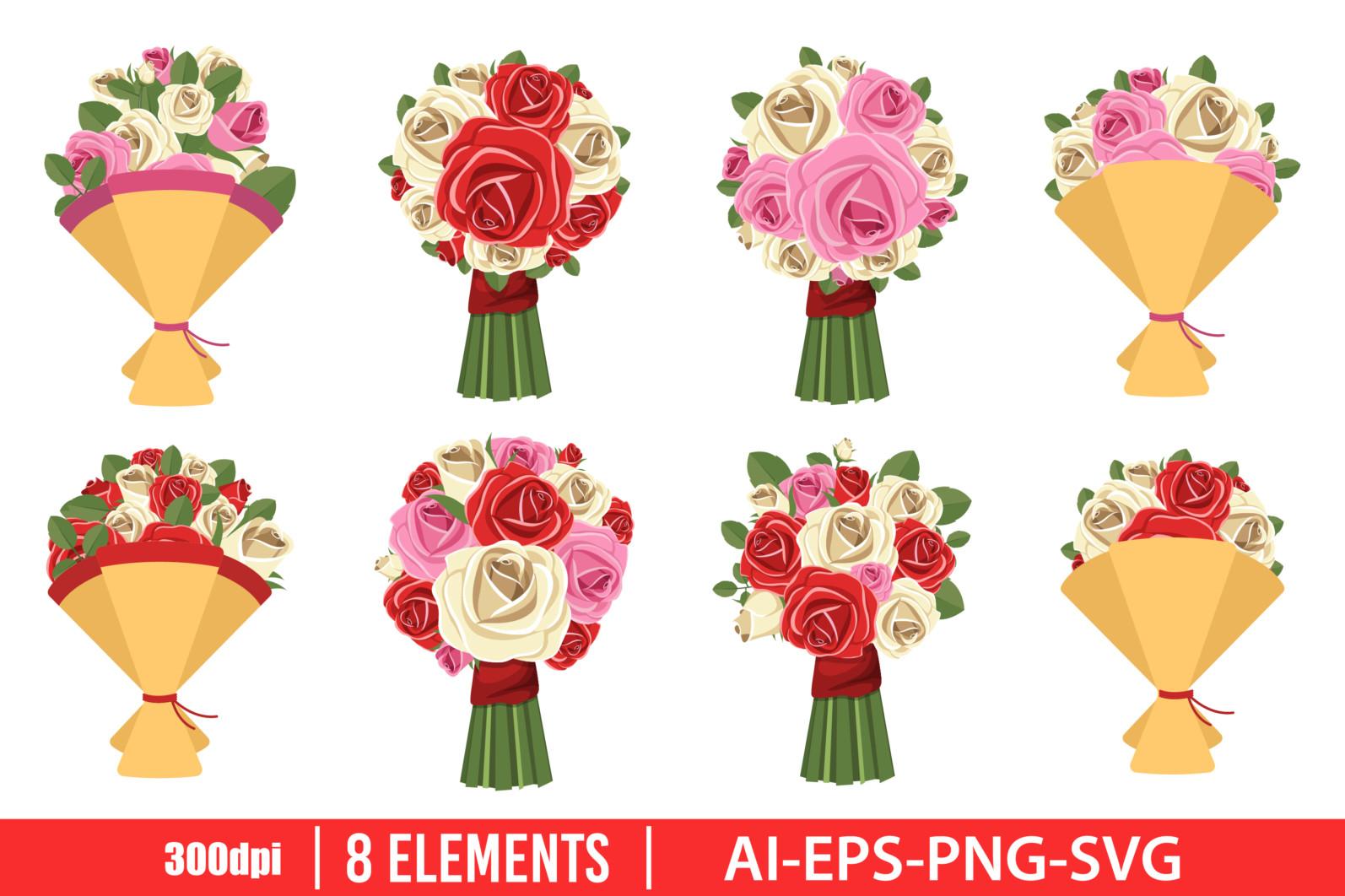 Flower bouquet clipart vector design illustration. Flower bouquet set. Vector Clipart Print - FLOWER BOUQUET scaled -