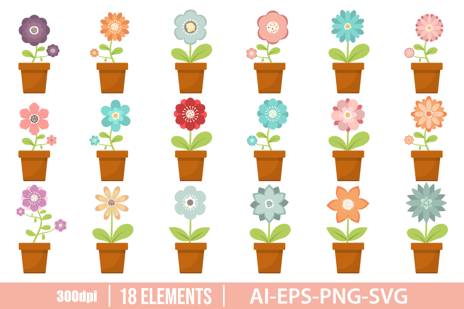 How flower in pot clipart vector design illustration. Flower pot set. Vector Clipart Print - FLOWER IN POT scaled -