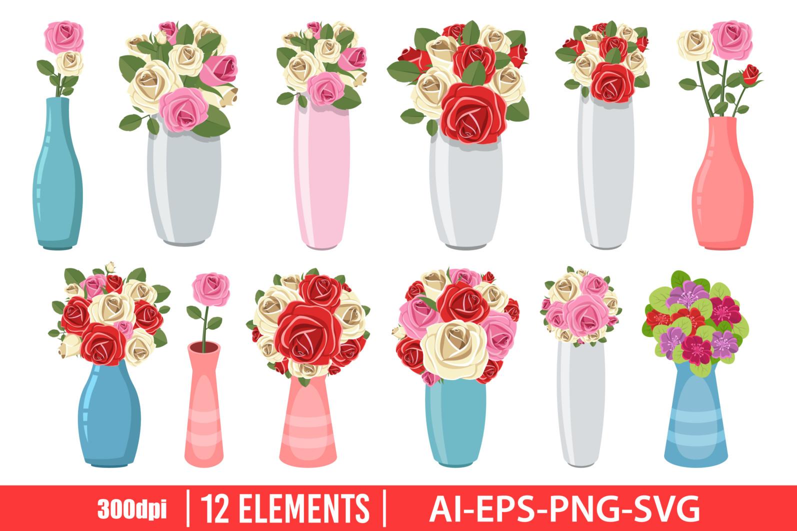Vase with flower clipart vector design illustration. Flower vase set. Vector Clipart Print - FLOWER VASE scaled -