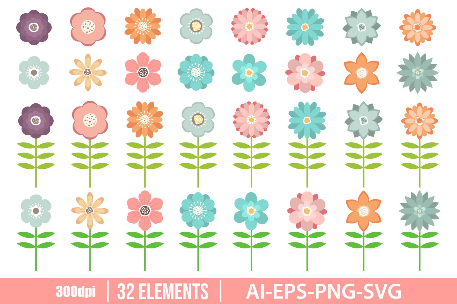 Beautiful flowers clipart vector design illustration. Flowers set. Vector Clipart Print - FLOWERS scaled -