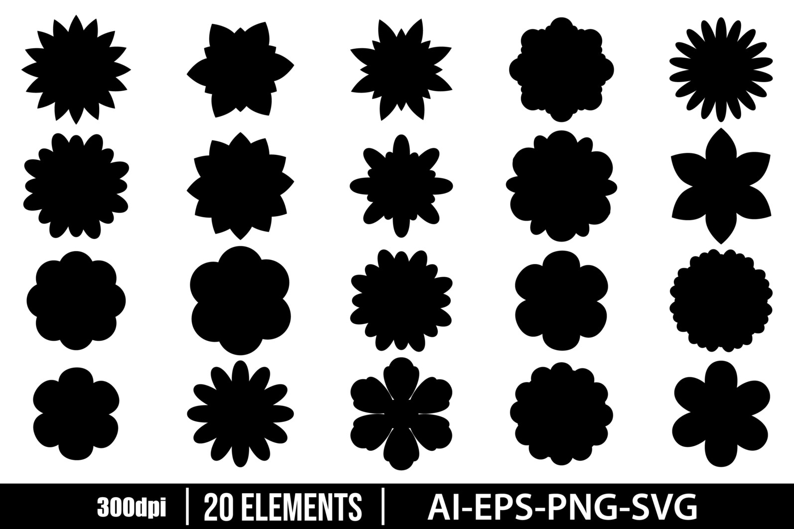 Beautiful flowers silhouette clipart vector design illustration. Vector Clipart Print - FLOWERS SILHOUETTE scaled -