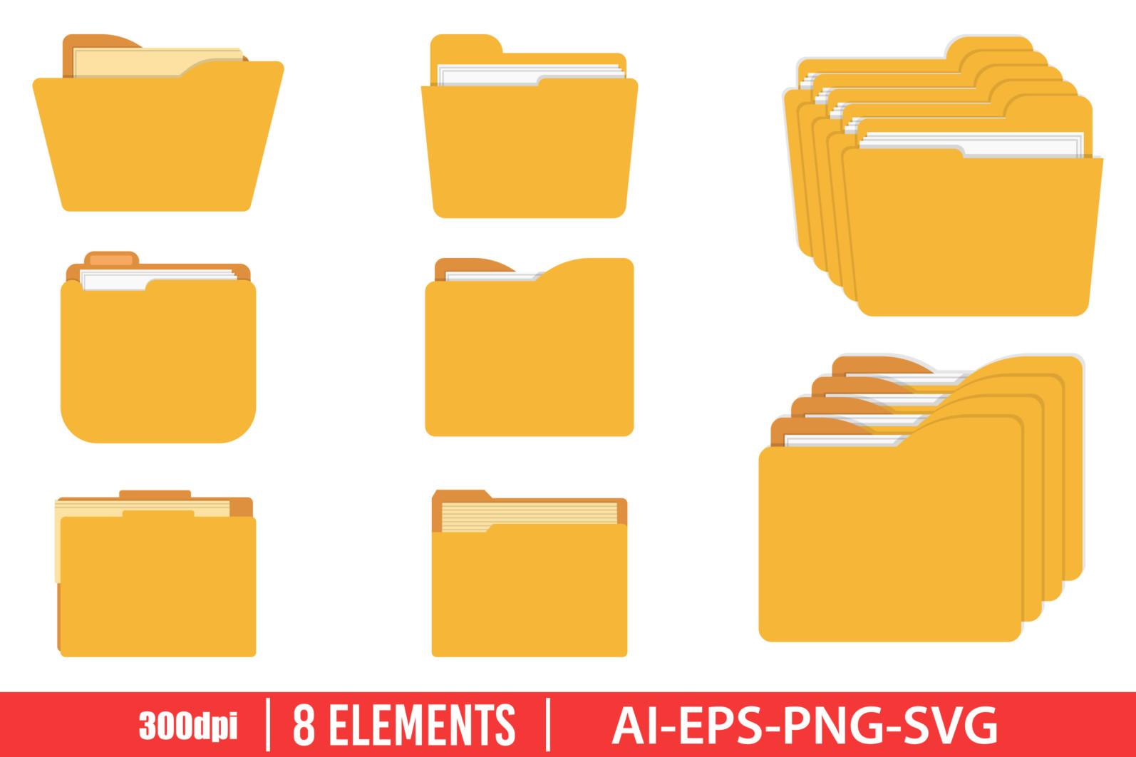 Folder icon clipart vector design illustration. Folder icon set. Vector Clipart Print - FOLDER scaled -