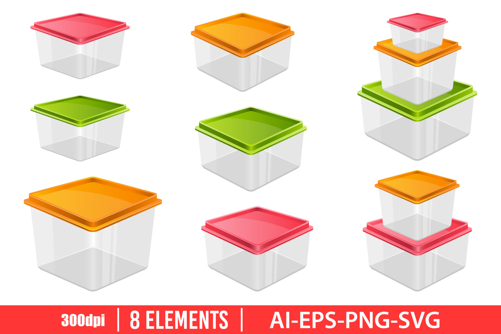Food container clipart vector design illustration. Food container set. Vector Clipart Print - FOOD CONTAINER scaled -