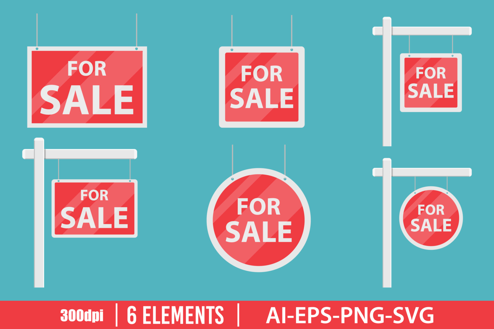 For sale house sign clipart vector design illustration. For sale sign set. Vector Clipart Print - FOR SALE scaled -