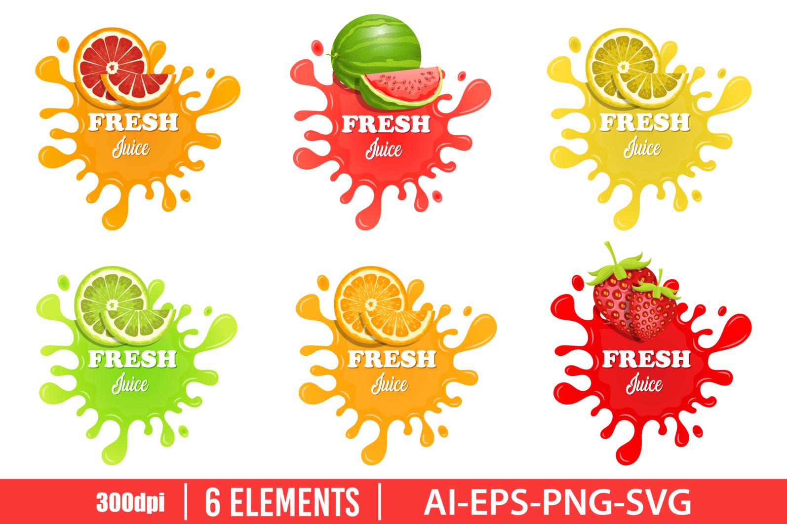 Fruit juice splashes clipart vector design illustration. Juice splashes set. Vector Clipart Print - FRUIT JUICE SPLATTER scaled -