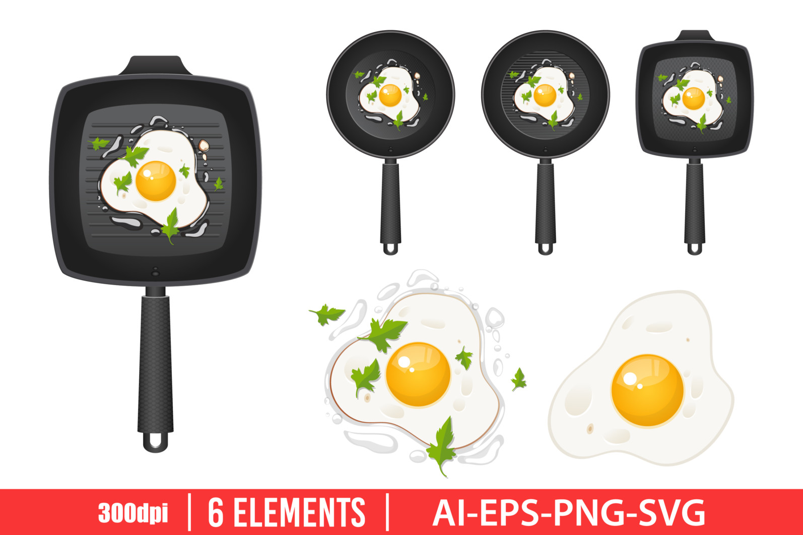 Fried egg in pan clipart vector design illustration. Fried egg set. Vector Clipart Print - FRIED EGG scaled -