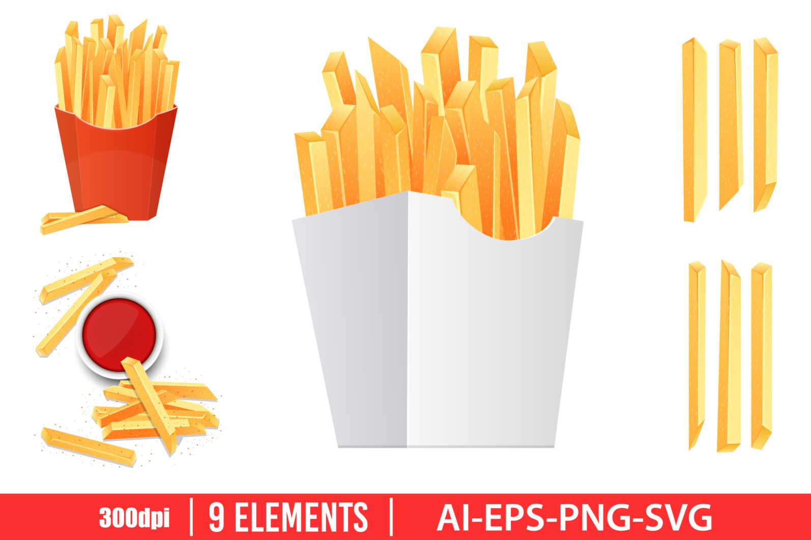French fries clipart vector design illustration. French fries set. Vector Clipart Print - FRIES scaled -