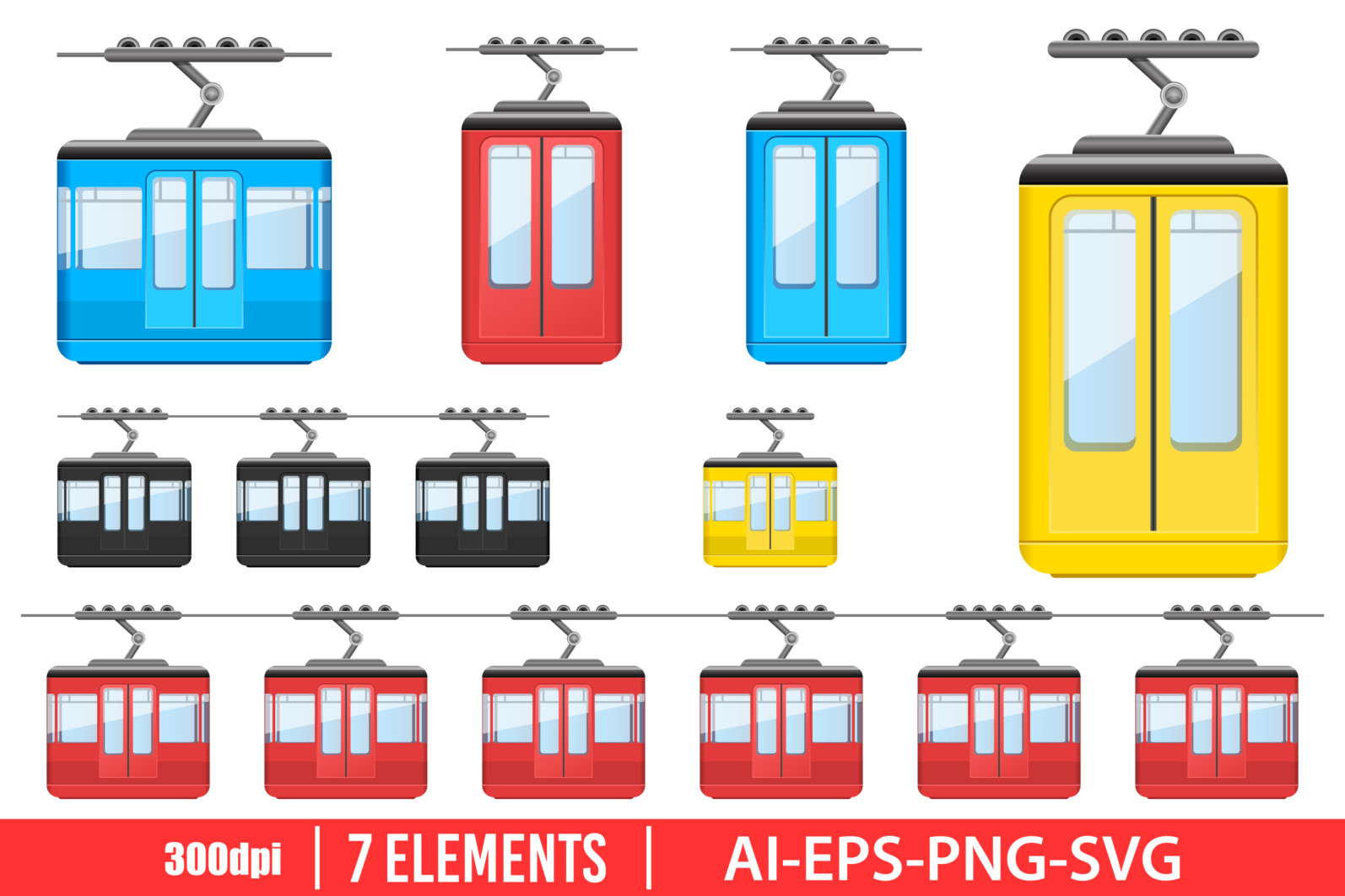 Cableway funicular clipart vector design illustration. Cableway funicular set. Vector Clipart Print - FURNICULAR scaled -