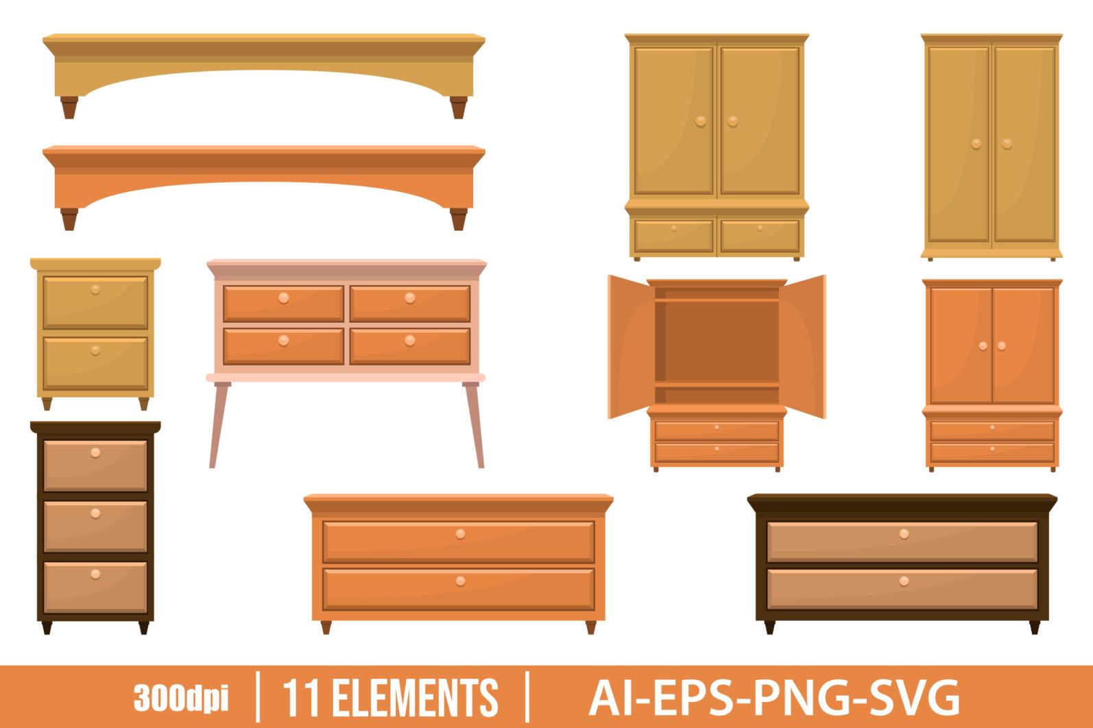 Retro wooden bedroom furniture clipart vector design illustration. Vector Clipart Print - FURNITURE scaled -