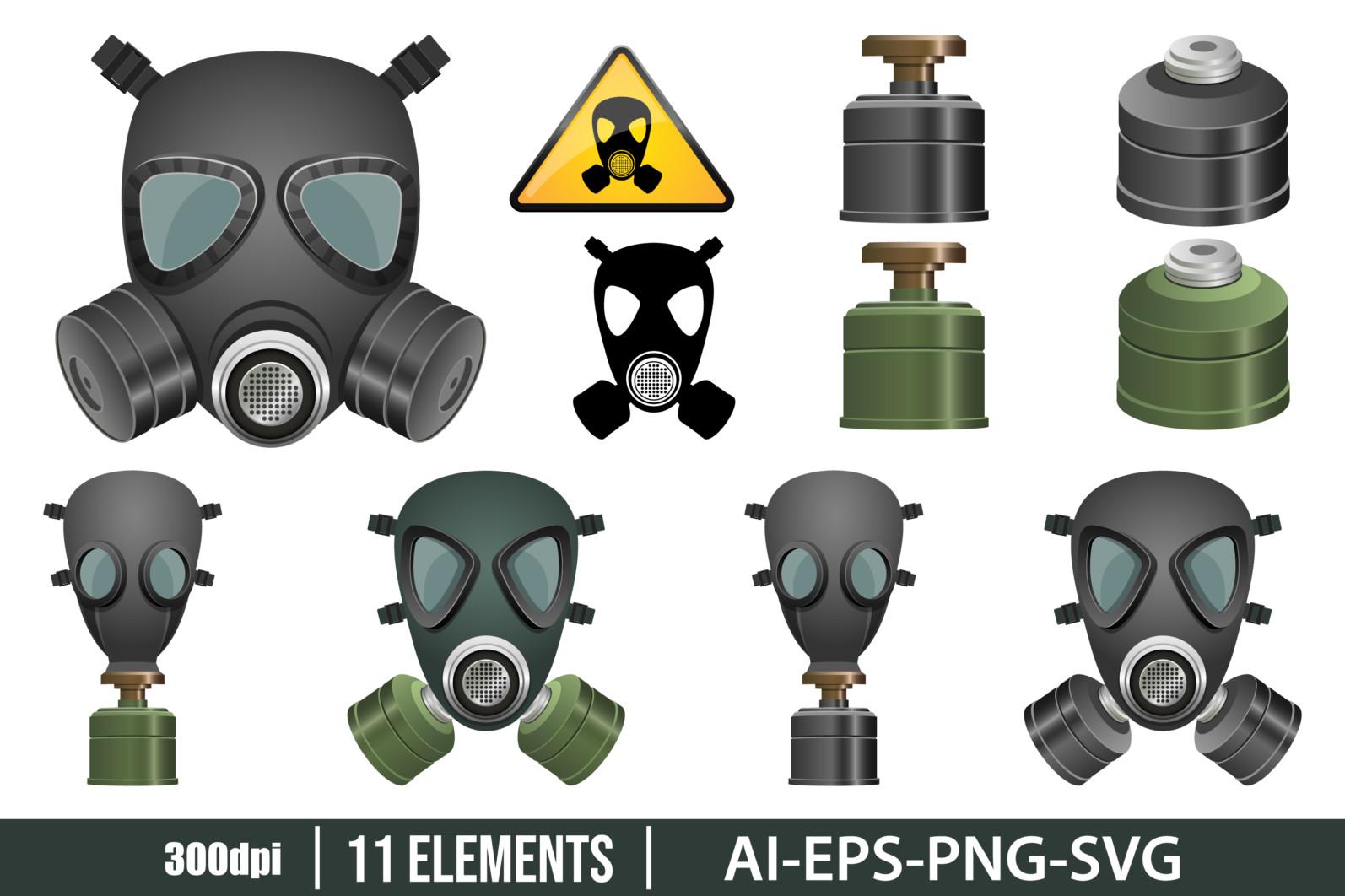 Gas mask clipart vector design illustration. Gas mask set. Vector Clipart Print - GAS MASK scaled -