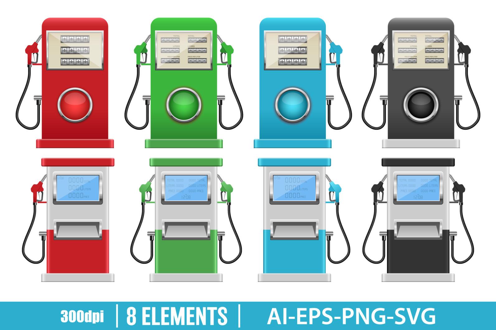 Gas pump clipart vector design illustration. Gas pump set. Vector Clipart Print - GAS STATION scaled -