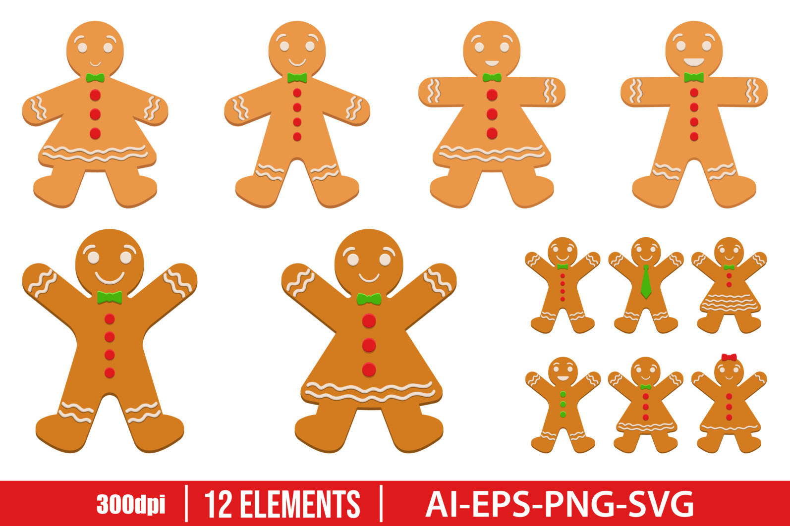 Gingerbread man clipart vector design illustration. Gingerbread man set. Vector Clipart Print - GINGERBREAD MAN scaled -