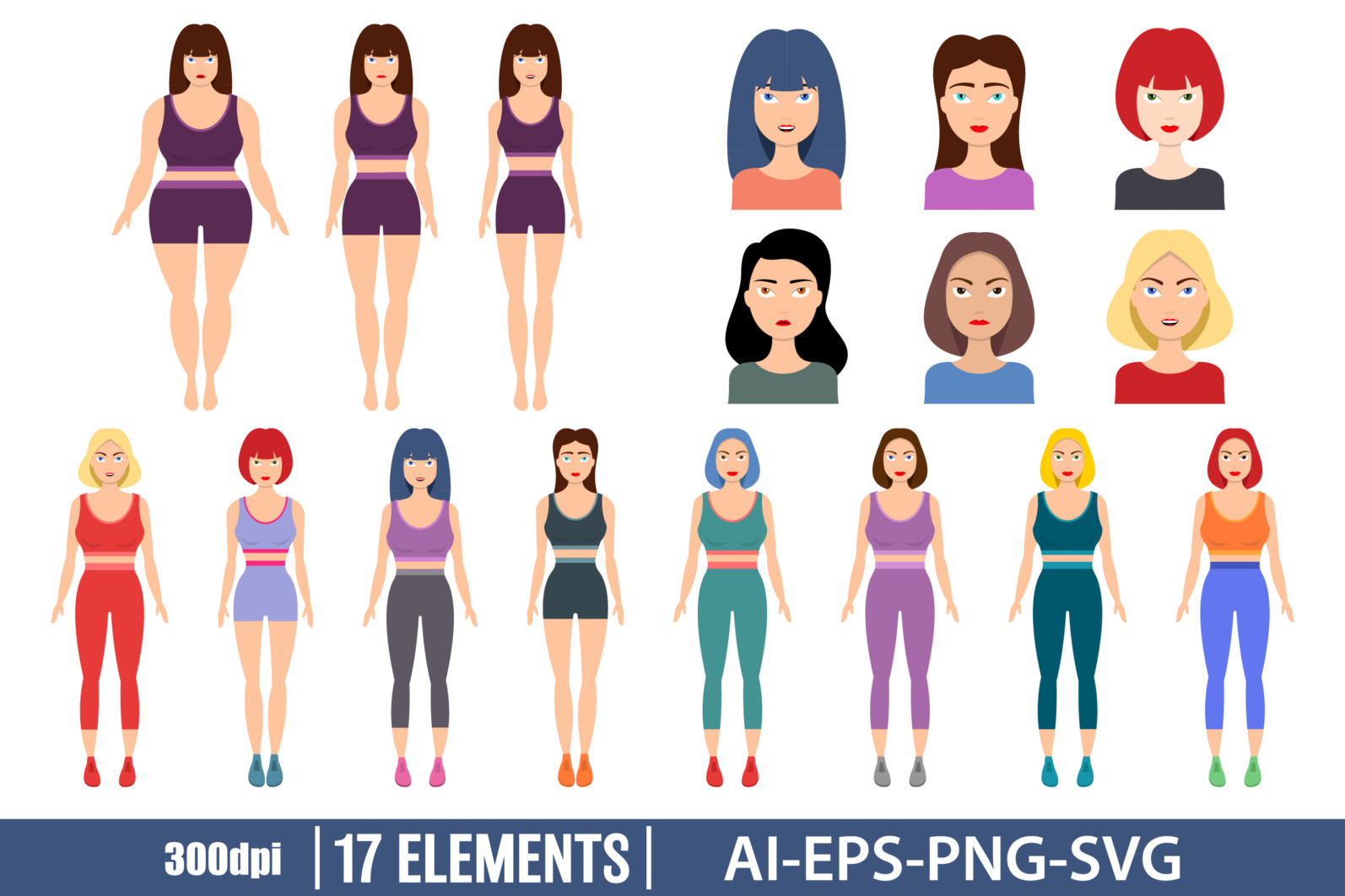 Sportive woman character clipart vector design illustration. set. Vector Clipart Print - GIRL CHARACTER scaled -