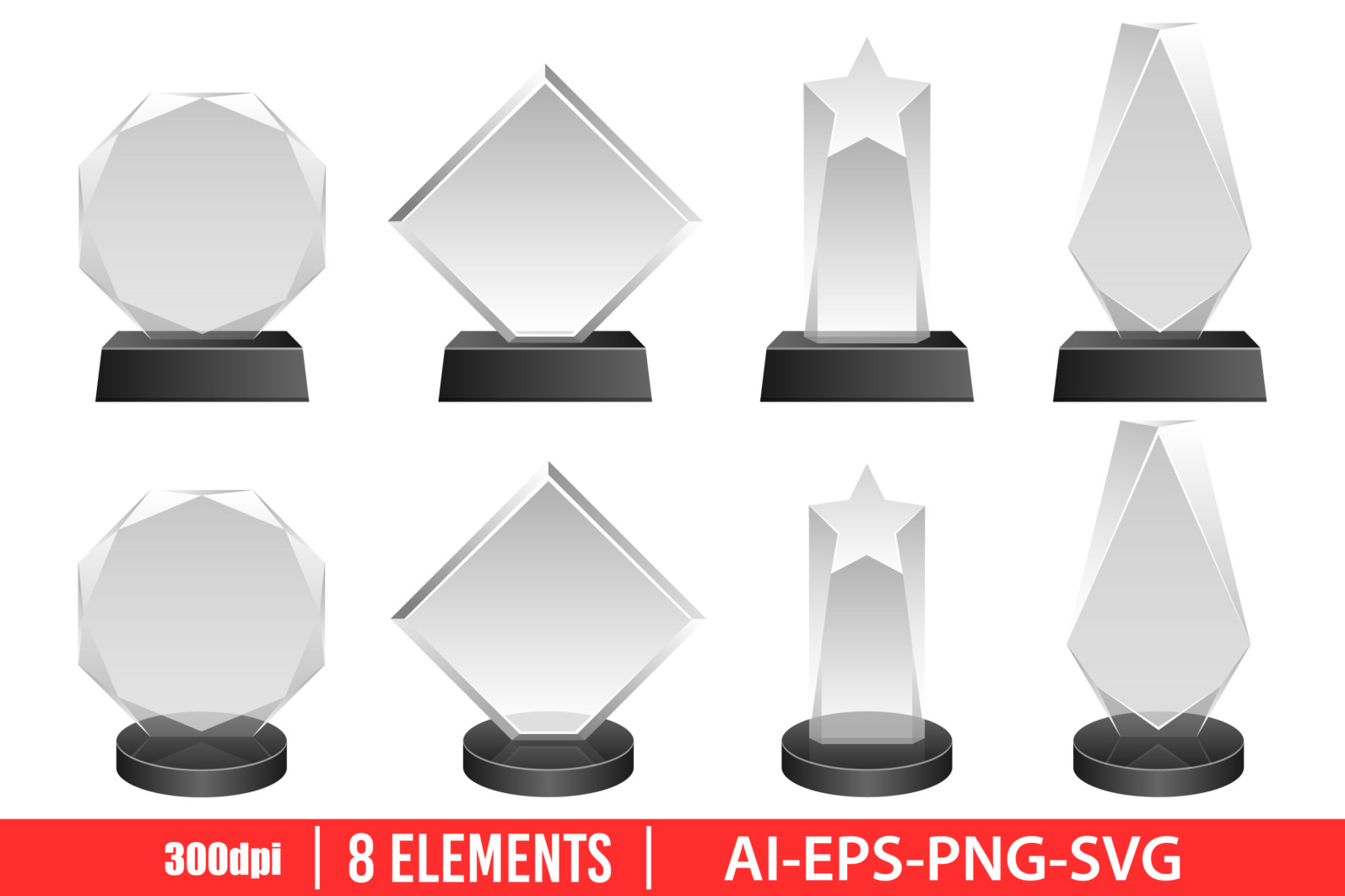 Winner glass award clipart vector design illustration. Glass award set. Vector Clipart Print - GLASS AWARD scaled -