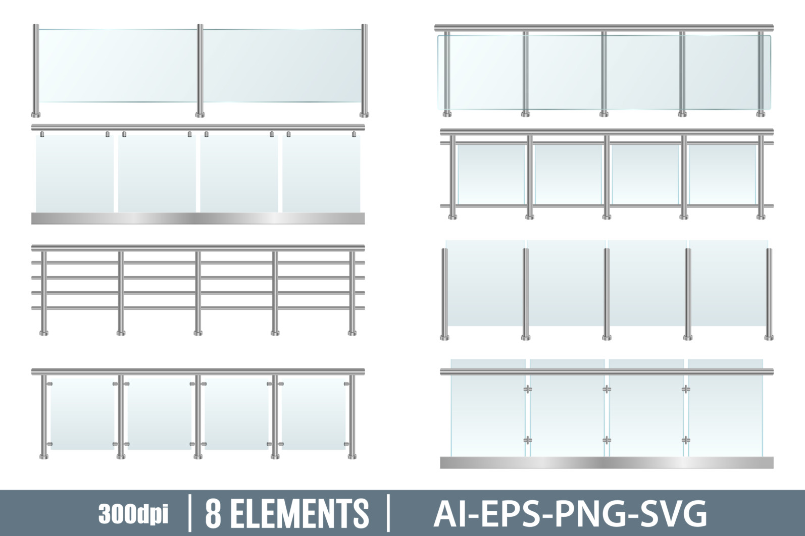 Glass railing clipart vector design illustration. Glass railing set. Vector Clipart Print - GLASS BALUSTRADE scaled -