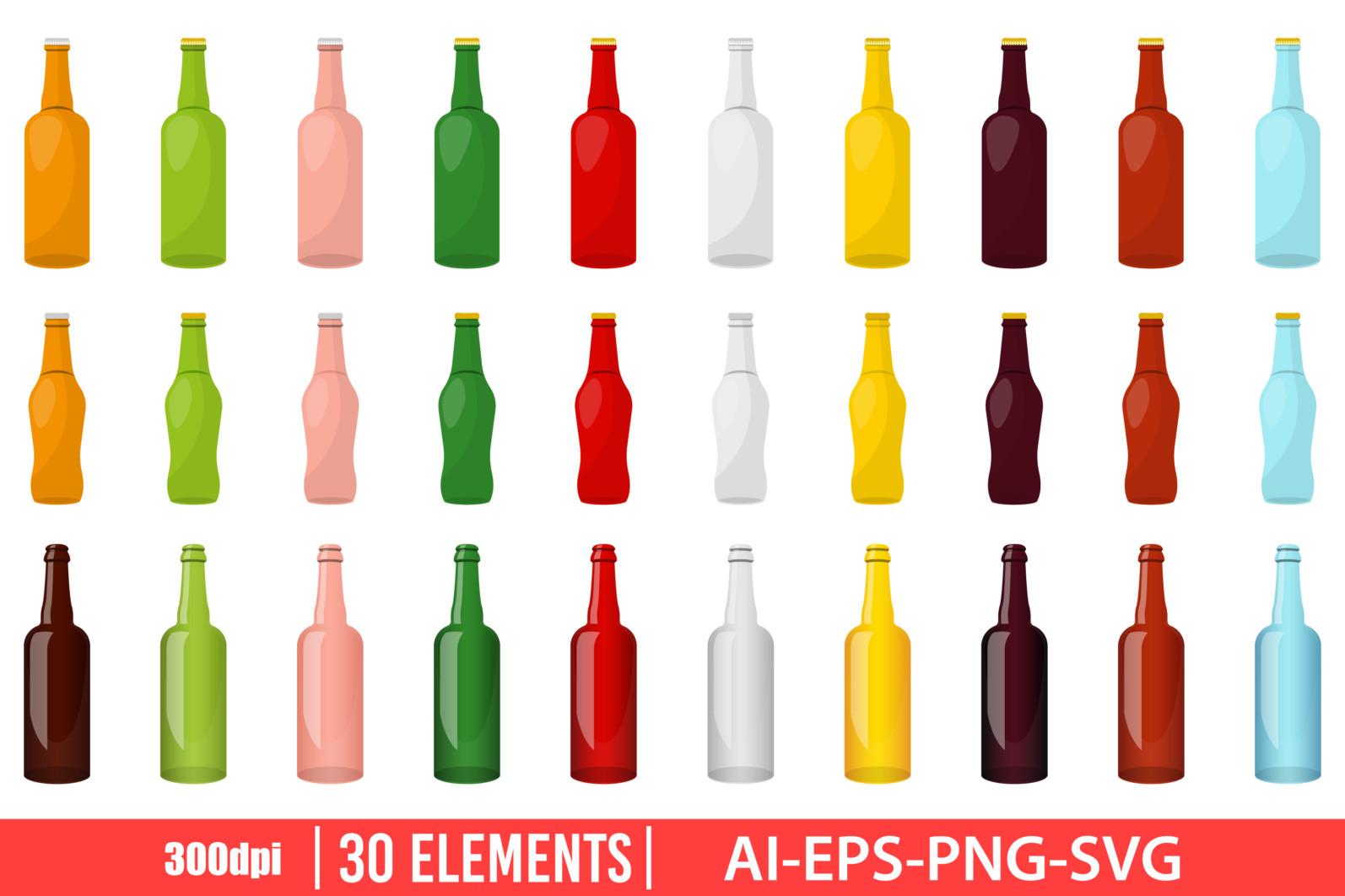 Glass bottle clipart vector design illustration. Glass bottle set. Vector Clipart Print - GLASS BOTTLE scaled -