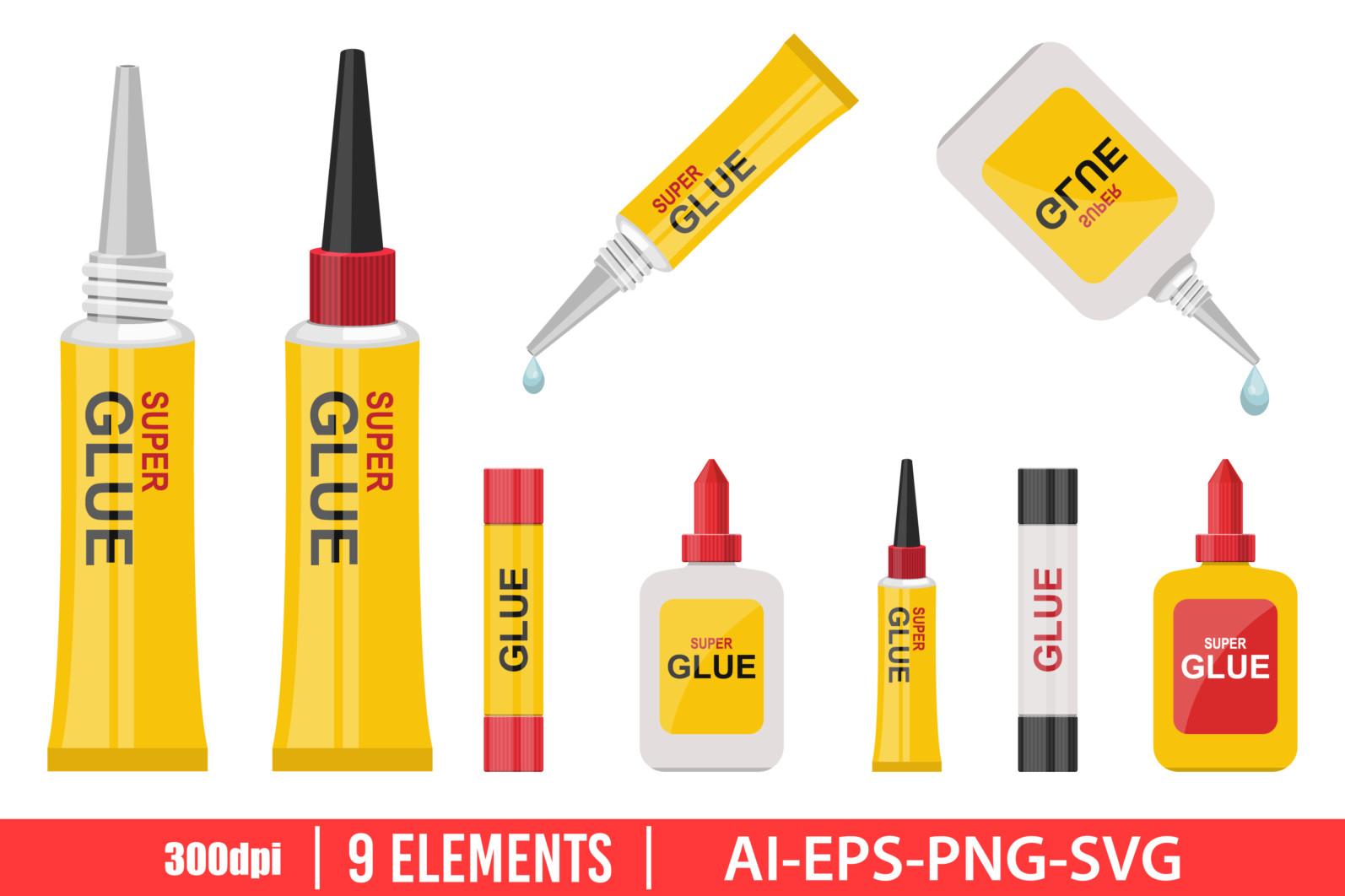 Glue bottle clipart vector design illustration. Glue bottle set. Vector Clipart Print - GLUE BOTTLE scaled -