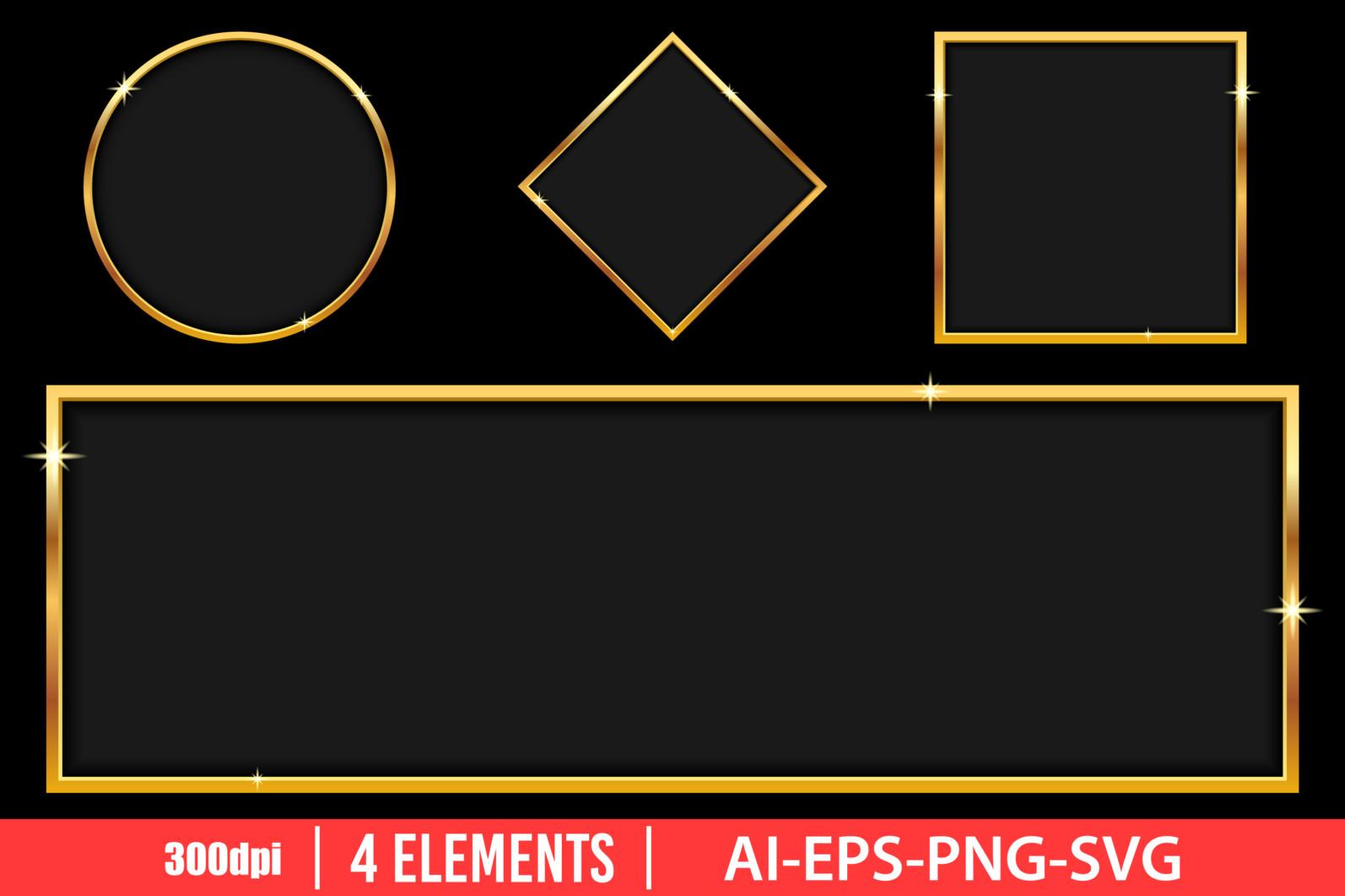 Luxury golden banner clipart vector design illustration. Golden banner set. Vector Clipart Print - GOLDEN BANNER scaled -