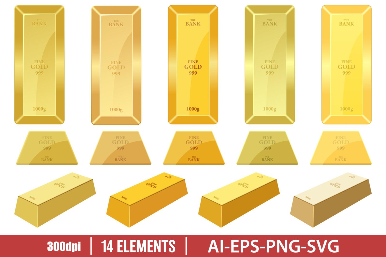 Gold bar clipart vector design illustration. Gold ingot set. Vector Clipart Print - GOLDEN BAR scaled -