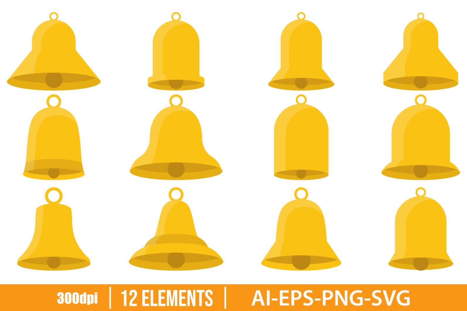 Golden bells clipart vector design illustration. Golden bell set. Vector Clipart Print - GOLDEN BELL scaled -