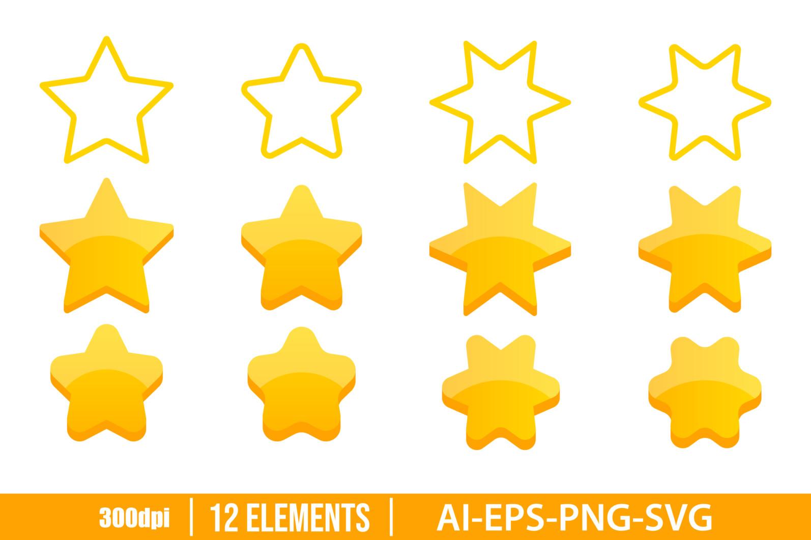 Golden stars clipart vector design illustration. Gold, stars, icon, vote set. Vector Clipart Print - GOLDEN STARS scaled -