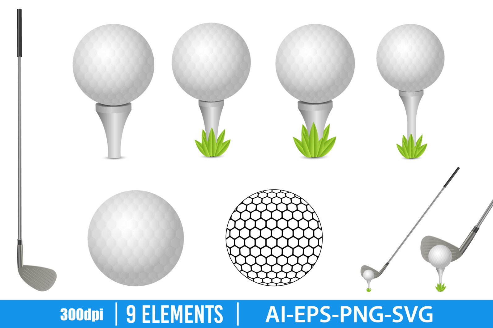 Golf ball and putter clipart vector design illustration. Golf set. Vector Clipart Print - GOLF scaled -