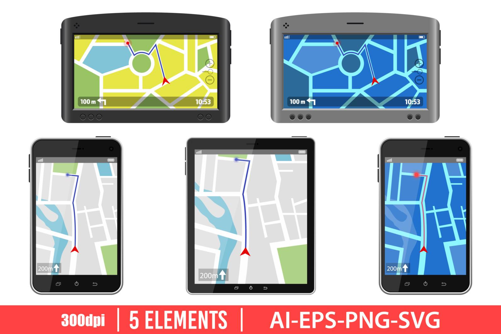 Gps navigation system clipart vector design illustration. GPS set. Vector Clipart Print - GPS scaled -