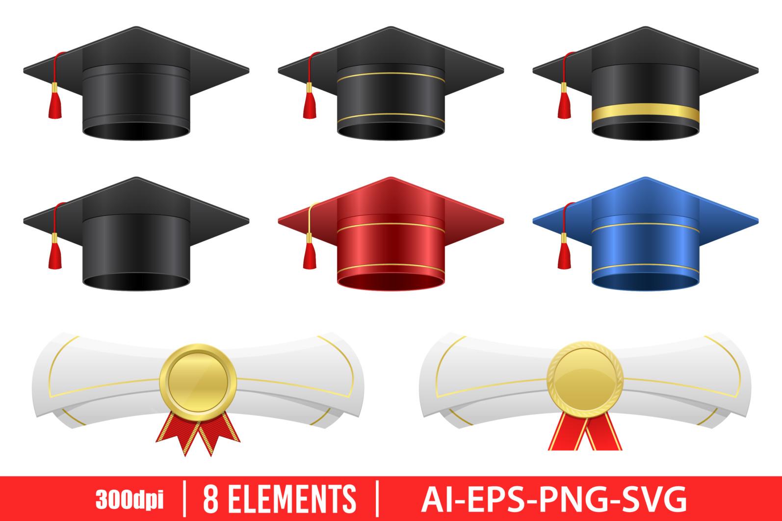 Graduation cap clipart vector design illustration. Graduation set. Vector Clipart Print - GRADUATION CAP 1 scaled -