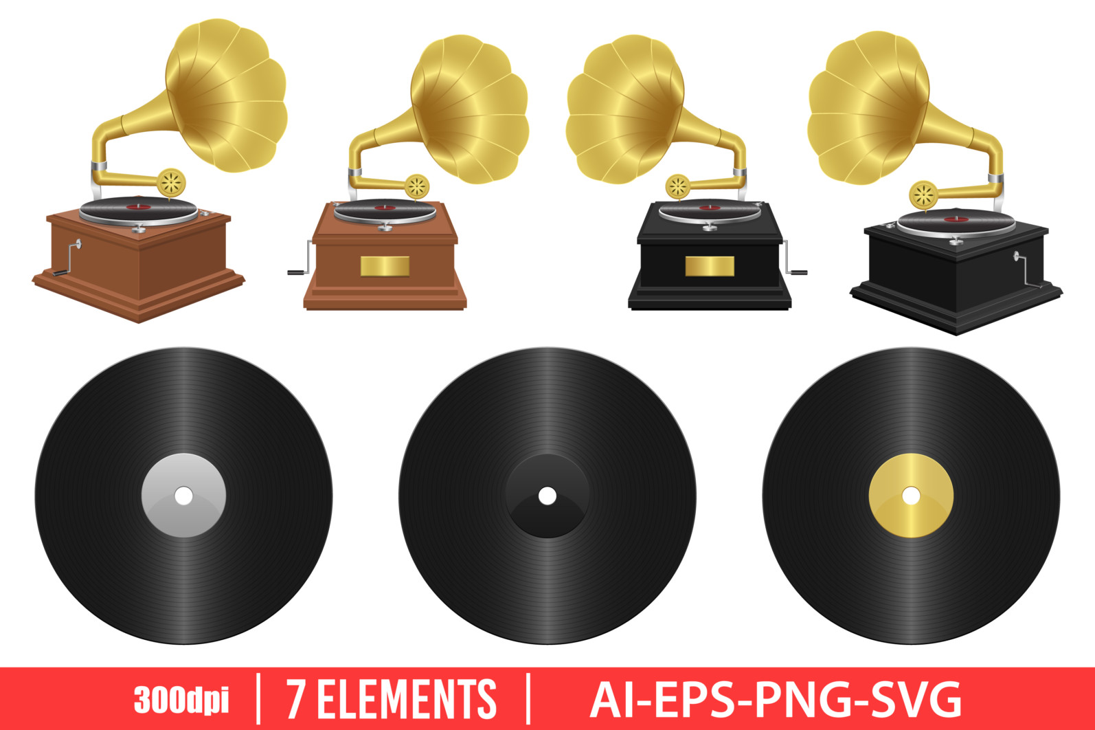 Realistic gramophone clipart vector design illustration. Gramophone set. Vector Clipart Print - GRAMOPHONE scaled -