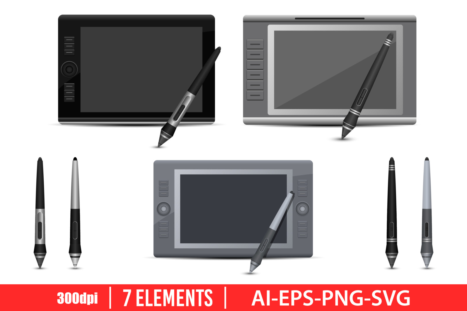Graphic tablet clipart vector design illustration. Graphic tablet set. Vector Clipart Print - GRAPHIC TABLET scaled -