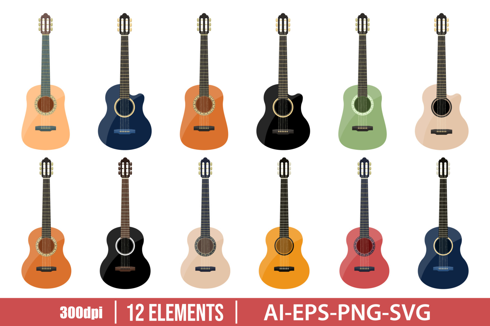 Stylish classical guitar clipart vector design illustration . Vector Clipart Print - GUITAR 1 scaled -