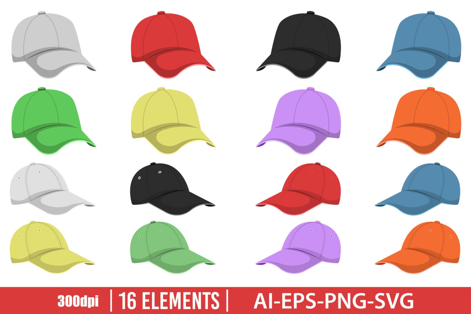Cap clipart vector design illustration. Cap set. Vector Clipart Print - HEAD CAP scaled -