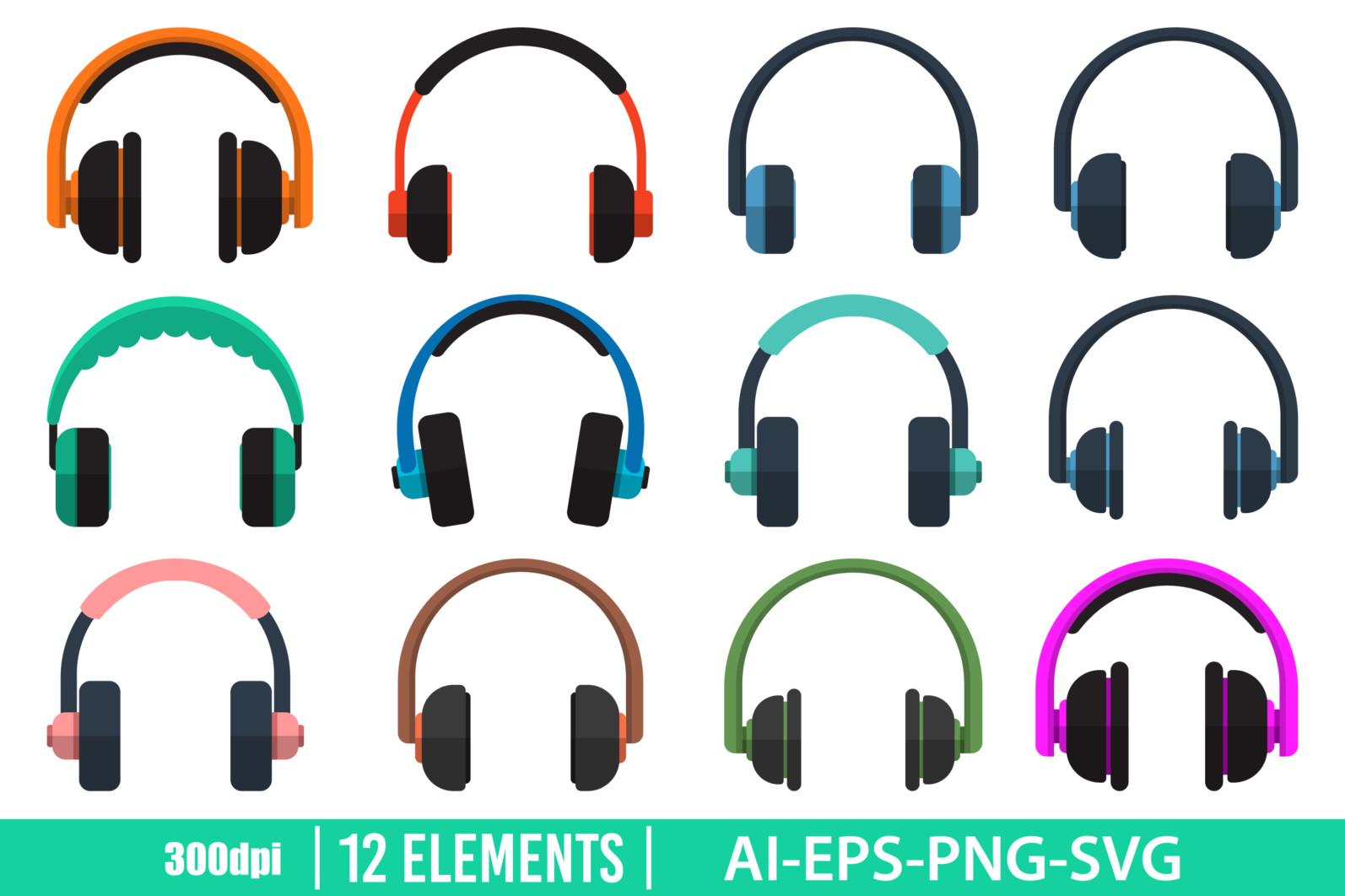 Headphones clipart vector design illustartion. Headphones set. Vector Clipart Print - HEADPHONES scaled -