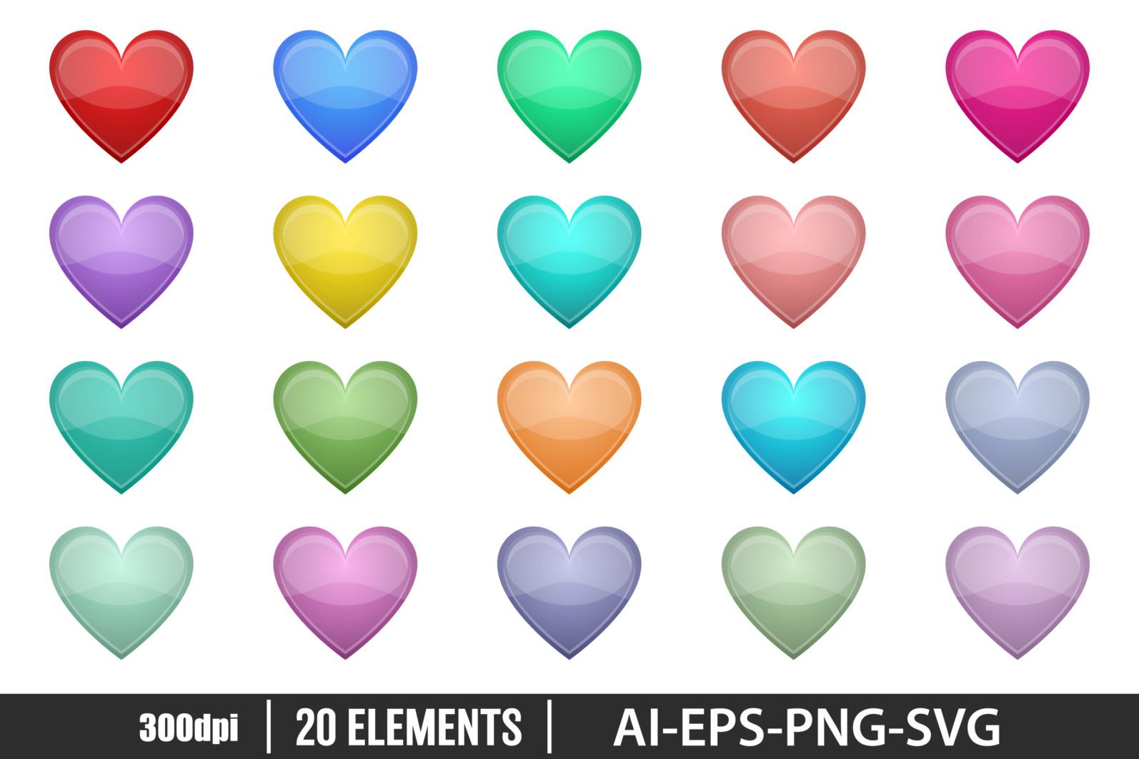 Shiny heart clipart vector design illustration. Heart set. Vector Clipart Print - HEART 1 scaled -