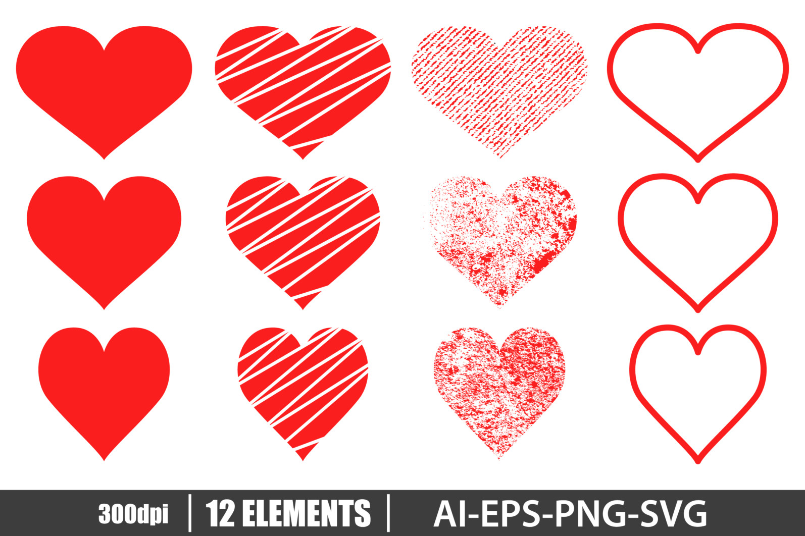Red heart set clipart vector design illustration. Vector Clipart Print - HEART 2 scaled -