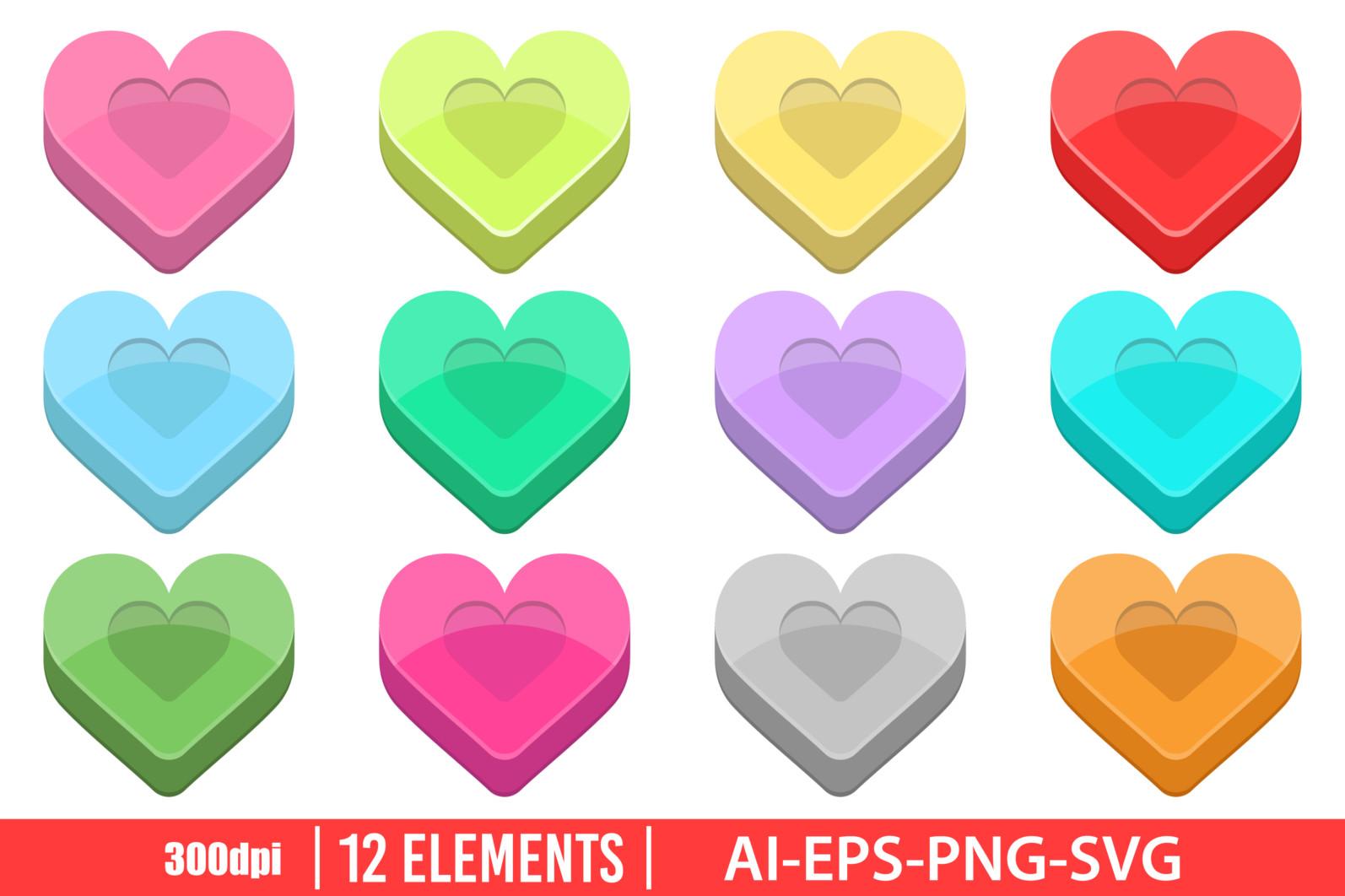 Heart shape clipart vector design illustration. Heart shape set. Vector Clipart Print - HEART SHAPE scaled -