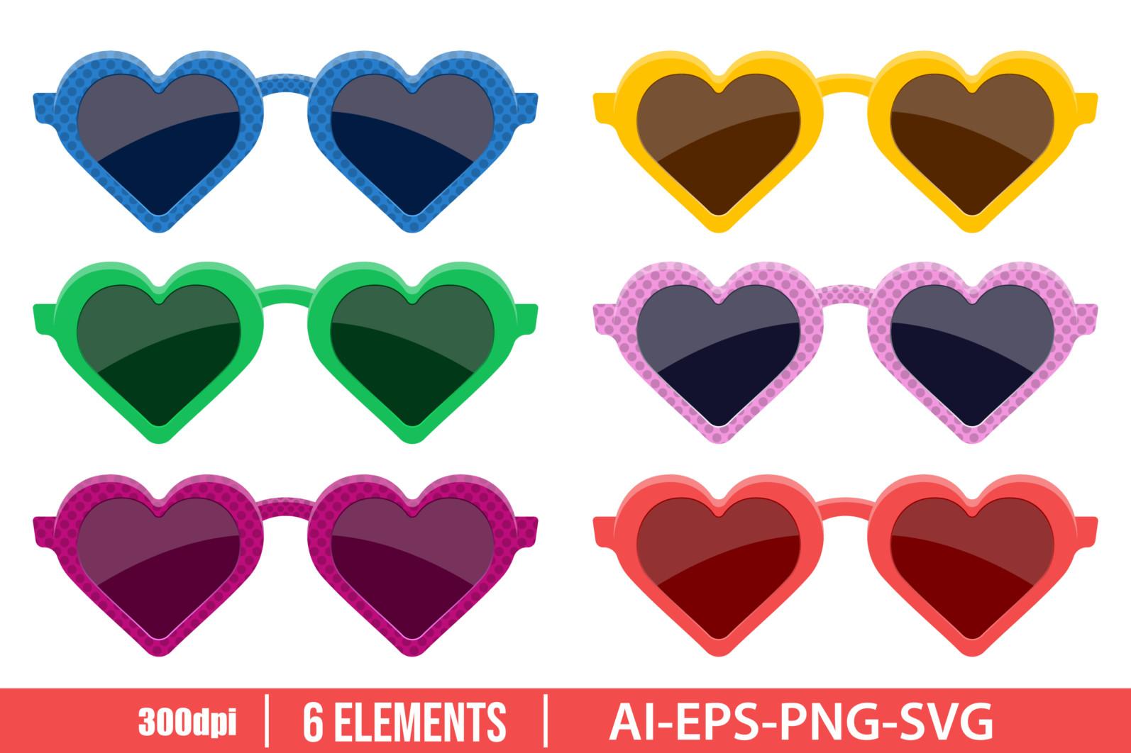 Stylish heart sunglasses clipart vector design illustration. Sunglasses set. Vector Clipart Print - HEART SHAPED SUNGLASSES scaled -