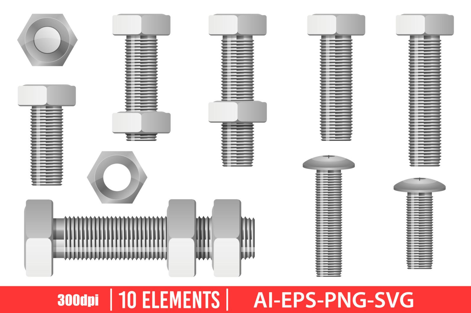 Hex bolt clipart vector design illustration. Hex bolt set. Vector Clipart Print - HEX BOLT scaled -