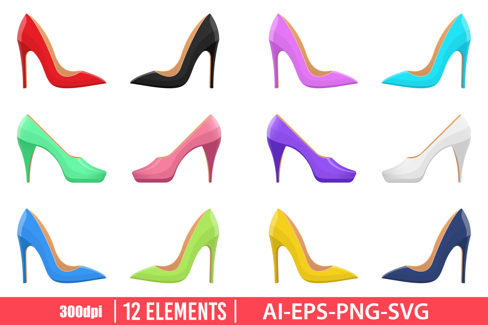 High heel shoes clipart vector design illustration. High heel shoes set. Vector Clipart Print - HIGH HEELS SHOES scaled -